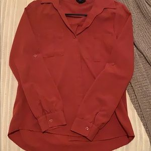 Burnt Orange Button Up with Pockets